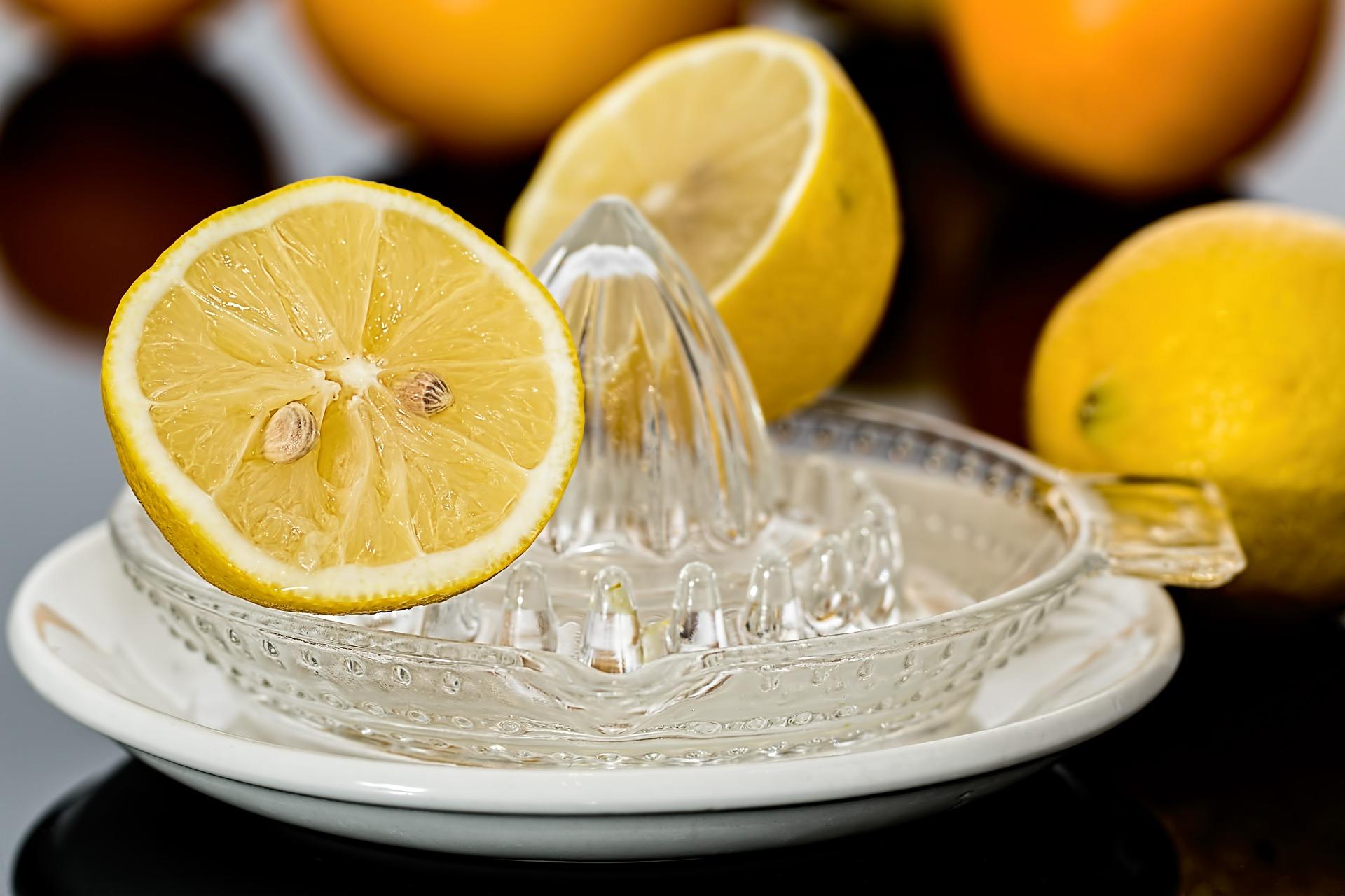 Halbierte Zitrone auf Zitronenpresse aus Glas